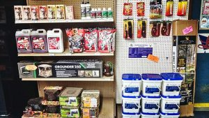 products sitting on shelf and hanging on wall at pro ag farmers