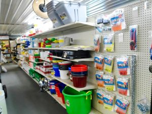 Stocked shelves with nuts and bolts needed to fix various projects